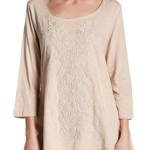 Caite & Kyla Seo Sadie Long Sleeve Embroidered Top
